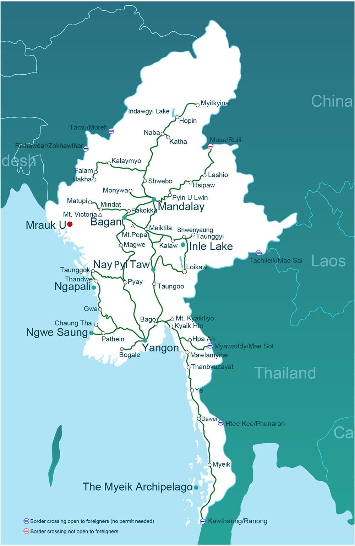 Karte Myanmar.Getting To Mrauk U Go Myanmar Com