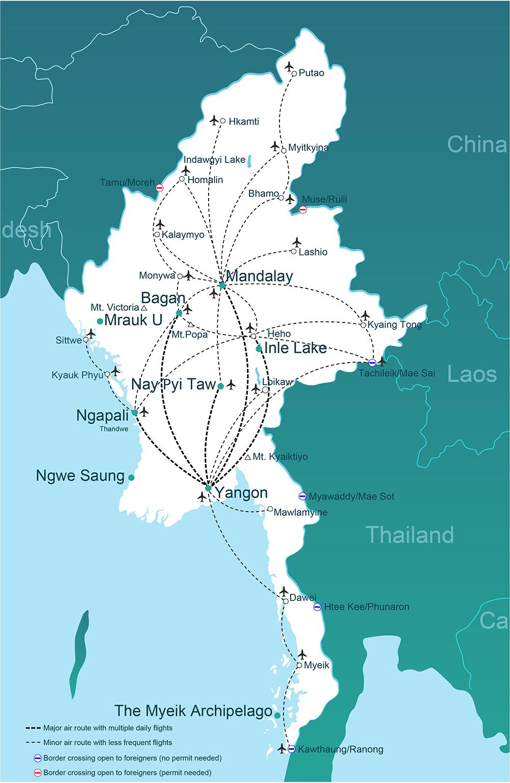 Getting Around Myanmar Burma By Air GoMyanmarcom - Map of burma
