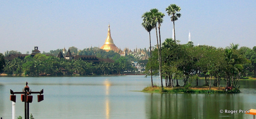 Kandawgyi Lake with the Shwedagon Pagoda in the background