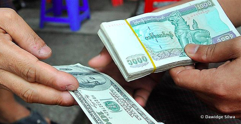 Myanmar Kyat And Us Dollar Notes As Local Currency