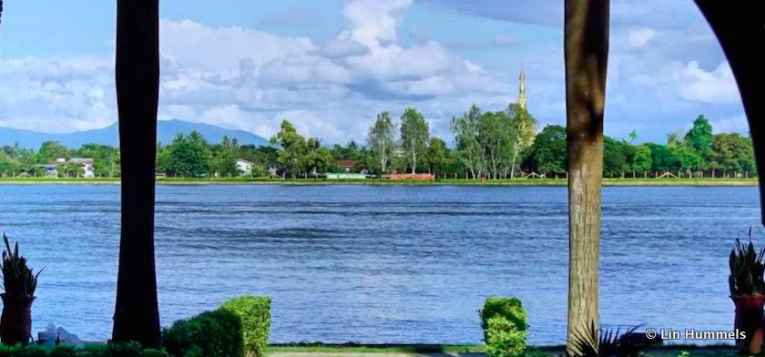 Looking across to the Shwesandaw Pagoda across the Royal Lake